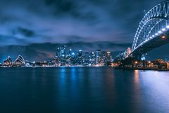 Nachtmening van Sydney stock afbeelding