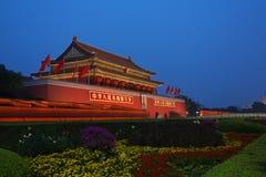 Nachtmening van Tiananmen Stock Afbeeldingen