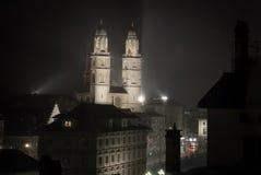Nachtmening van Zürich Stock Foto's