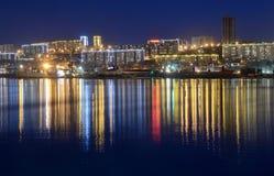 Nachtmening voor de Churkin-kaap in Vladivostok royalty-vrije stock fotografie