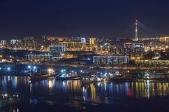 Nachtmening voor de Churkin-kaap in Vladivostok stock afbeeldingen