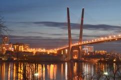 Nachtmening voor de Churkin-kaap in Vladivostok royalty-vrije stock foto's