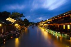 Nachtmening in Wuzhen Stock Foto's