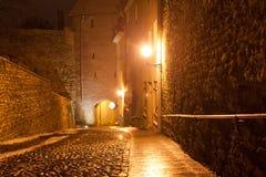 Nachtmeningen van Tallinn op Nieuwjaar` s Vooravond, Estland stock afbeelding