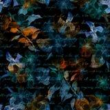 Nachtmysteriöse Blumen, Hand schriftlicher Buchstabetext Schwarzer Hintergrund Nahtloses Muster Lizenzfreie Stockbilder