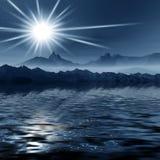 Nachtnebelhafte Landschaft lizenzfreie abbildung