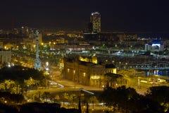 Nachtpanorama der Stadt von Barcelona Spanien Lizenzfreies Stockbild