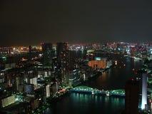 Nachtpanorama van de stad van Tokyo met wolkenkrabbers en de baai van Tokyo Royalty-vrije Stock Foto's