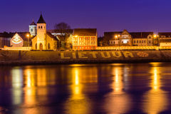 Nachtpanorama van Kaunas Royalty-vrije Stock Fotografie
