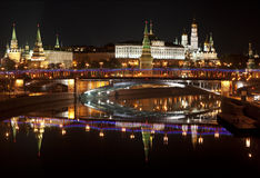 Nachtpanorama van Moskou het Kremlin. Moskou, Rusland Stock Foto's