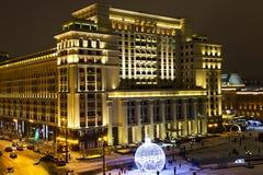 Nachtpanorama van Vier Seizoenenhotel Moskou Stock Foto