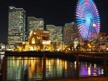 Nachtpanorama van Yokohama stock afbeelding