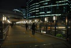 Nachtpanorama von Tokyo-Bucht mit Regenbogen-Brücke Lizenzfreies Stockfoto
