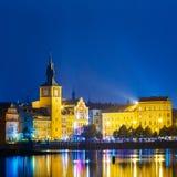 Nachtpanoramablick von Prag-Stadtbild, Tschechische Republik Stockbild