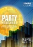 Nachtpartei - Flieger-oder Abdeckungs-Design Hintergrund mit Vollmond und Nacht vector städtische abstrakte Illustration Lizenzfreie Stockfotos