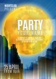 Nachtpartei - Flieger-oder Abdeckungs-Design Hintergrund mit Vollmond und Nacht vector städtische abstrakte Illustration Lizenzfreies Stockfoto