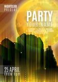Nachtpartei - Flieger-oder Abdeckungs-Design Hintergrund mit Vollmond und Nachtstädtischer abstrakter Illustration Lizenzfreie Stockfotos