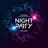 Nachtparteiplakat Glänzende Fahnenclubdisco DJ tanzen Sommereinladung stock abbildung