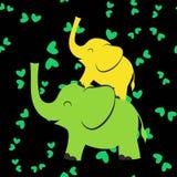 Nachtpatroon met olifanten stock illustratie