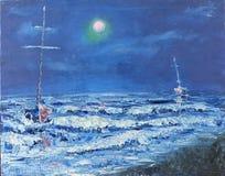 Nachtpermafrost, abstracte olieverfschilderijen Royalty-vrije Stock Fotografie
