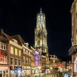 Nachtportret van de Domtoren-kerk in Utrecht, Nederland Stock Foto