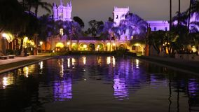 Nachtreflexion im Balboa-Park stock video footage
