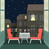 Nachtromantisches Datum mit Wein auf Balkon Flache Illustration des Vektors Lizenzfreie Stockbilder