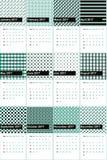 Nachtruiter en surfie groene gekleurde geometrische patronenkalender 2016 Royalty-vrije Stock Foto