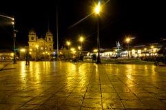 Nachtscène Cusco in Peru stock afbeeldingen