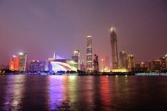 Nachtscène in guangzhoustad royalty-vrije stock afbeelding