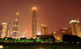 Nachtscène in guangzhoustad royalty-vrije stock foto's
