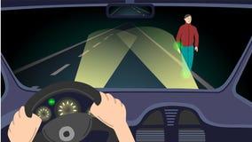 Nachtscène op de weg stock illustratie