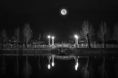 Nachtscène van Brug onder een volle maan stock fotografie