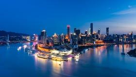 Nachtscène van Chongqing-stad Stock Afbeelding