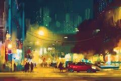 Nachtscène van cityscape met verlichting vector illustratie
