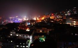 Nachtscène van Darjeeling, India Stock Afbeelding