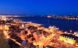 nachtscène van de haven in de Stad van Quebec Stock Fotografie