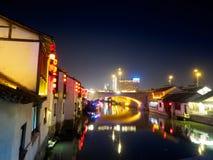 Nachtscène van de oude straat van Nan-Tchang Historisch Nan-Tchang - scen royalty-vrije stock fotografie