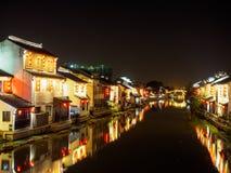 Nachtscène van de oude straat van Nan-Tchang Historisch Nan-Tchang - scen stock afbeelding