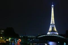 Nachtscène van de Toren van Eiffel Royalty-vrije Stock Foto's