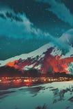 Nachtscène van dorp in berg stock illustratie