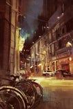 Nachtscène van een straat in stad met kleurrijk licht vector illustratie