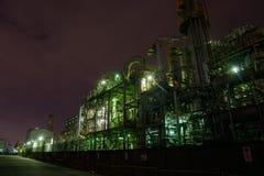 Nachtscène van Fabrieken Stock Foto