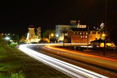 Nachtscène van Fredericton royalty-vrije stock afbeelding