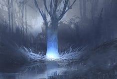 Nachtscène van griezelig bos met moeras Stock Afbeeldingen