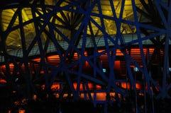 Nachtscène van het Nationale Stadion van Peking Royalty-vrije Stock Afbeeldingen