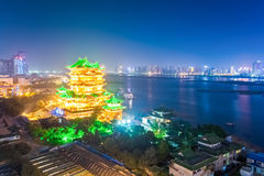 Nachtscène van het tengwangpaviljoen in Nan-Tchang Stock Afbeeldingen
