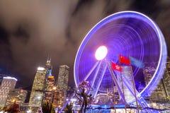Nachtscène van Hong Kong Cityscape bij Centrale Pijler royalty-vrije stock afbeelding