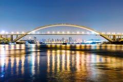 Nachtscène van Nanpu-brug Stock Foto