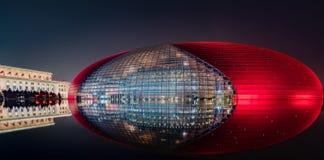 Nachtscène van Nationaal Centrum voor de Uitvoerende kunsten royalty-vrije stock fotografie